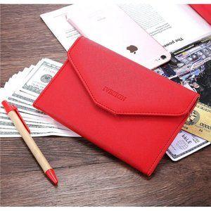 Red Trifold Passport Wallet